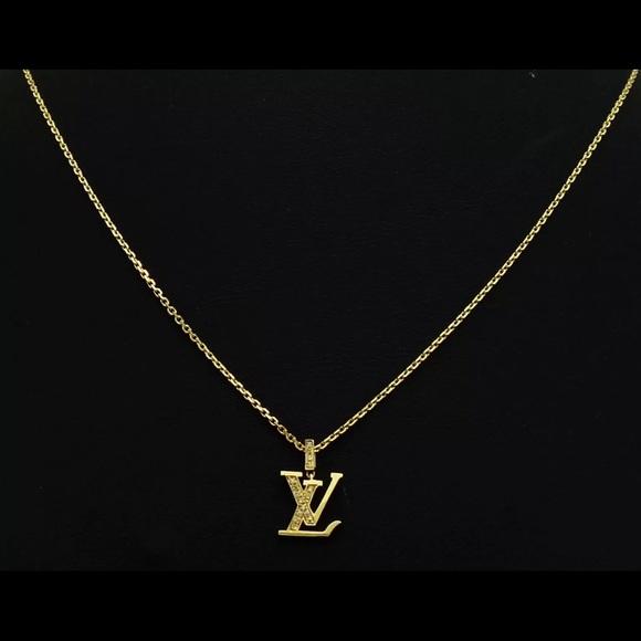 fa1d8248402 Louis Vuitton Monogram Gold Diamond Necklace